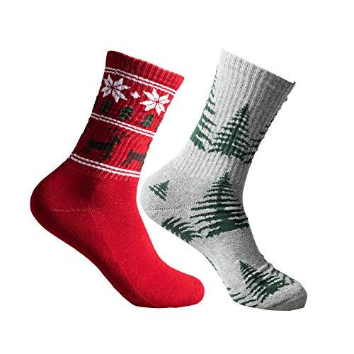Zoreline 2-Pairs Men's Christmas Socks Cotton Soft Cozy Plaid Socks Comfortable and Breathable Running Socks