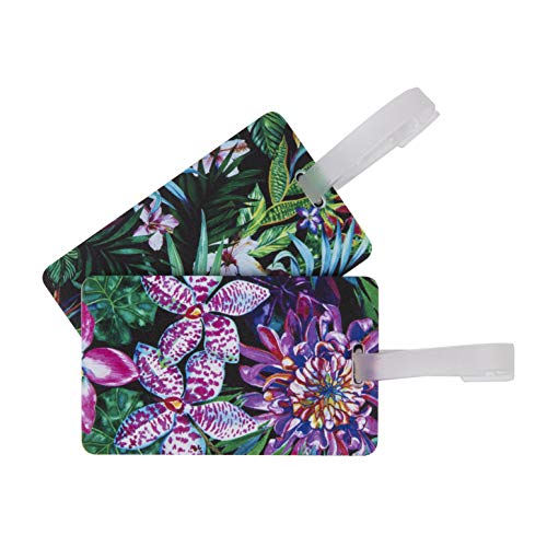Travelon Set of 2 Luggage Tags, Tropical Leaves