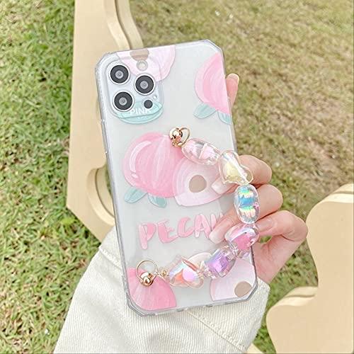 Cute Peach Hand Chain Pulsera Correa de muñeca Funda de Silicona para teléfono para iPhone 11 Pro MAX XS XR 12 Mini SE 2020 7 8 Plus X Funda Suave para iPhone XS MAX Peach Correa de muñeca