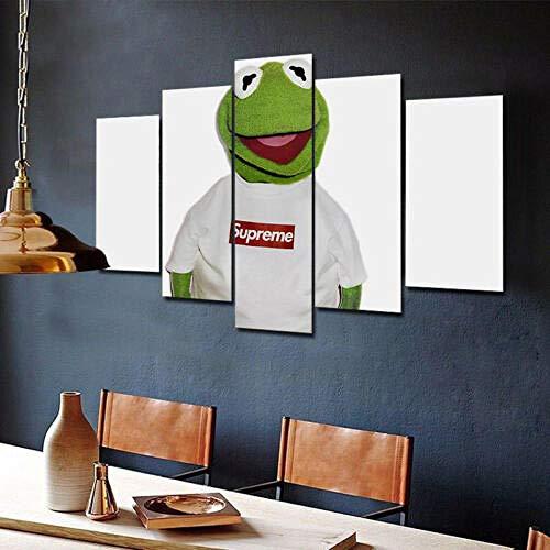 WJWORLD Kermit Supreme Funny 5 stuks canvas Home Decor muurkunst decor 30x40cmx2,30x60cmx2,30x80cmx1 Frame