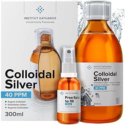 Argent Colloïdal 300 ml - 40 PPM 100% Naturel - Bouchon Doseur & Spray 30ml à Remplir - Certifié Ecocert Cosmos Natural - Made in France - Ebook Inclus.