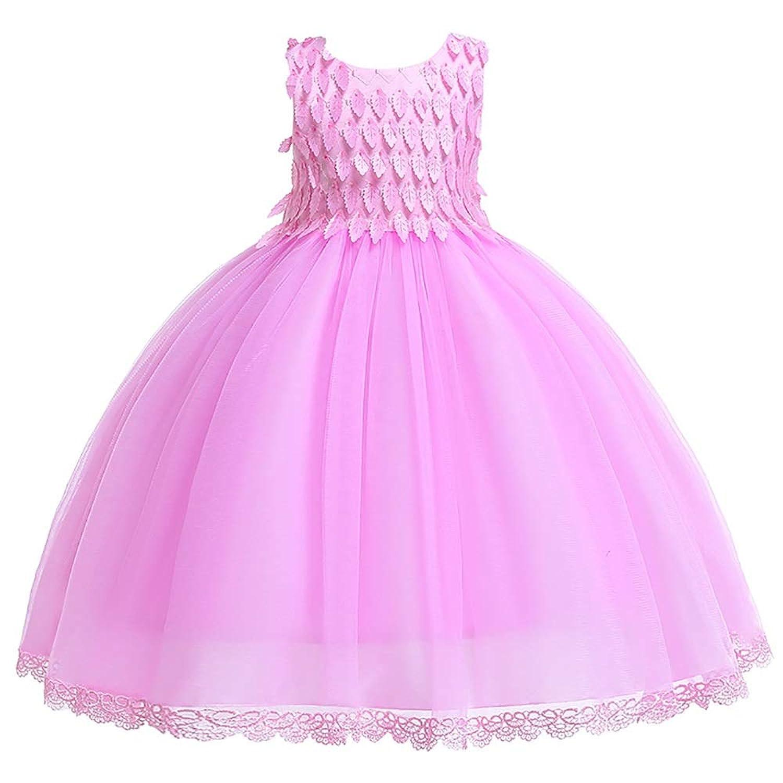 ガールズウェディングドレス 女の子のドレスメッシュチュチュスカート子供プリンセスドレスドレス子供ドレス 誕生日イブニングボールガウン (色 : ピンク, サイズ : 100cm)