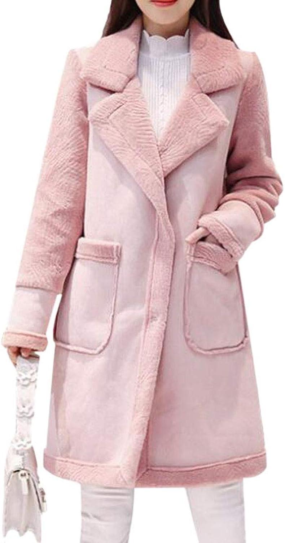 SELX Women Fleece Mid Length Stylish RelaxedFit Thickened Overcoat