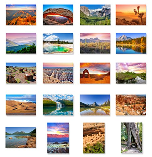 US NATIONAL PARKS postcard set of 20. Post card variety pack depicting American national parks postcards. Made in USA.
