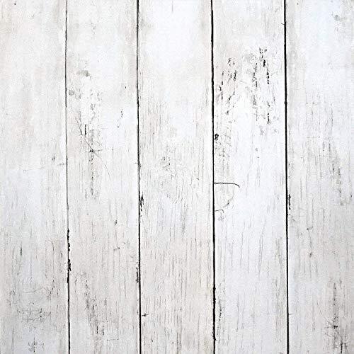 Klebefolie Weiß Selbstklebend Holz Streifen Tapete 45cm X 10m Möbelfolie 3D Wandtattoo Holzmaserung Folie Holzoptik Tapete Gestreift für Wand Kommode Schrank Tisch Zimmer Küchen Hintergrund Vinyl