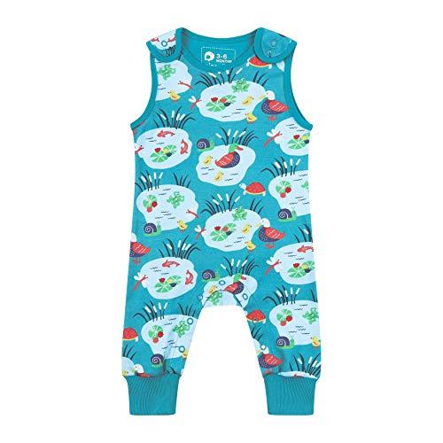 Salopette pour bébé + tout-petit, doux + confortable, coton biologique, unisexe Aqua Blue Pondlife pour filles et garçons - Bleu - 6 mois
