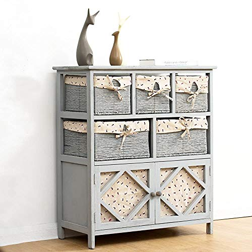 Cabinet de tiroir de meuble d'armoire, chicle gris gris Cabinet en bois massif Coffre de tiroirs avec panier en osier,Grey