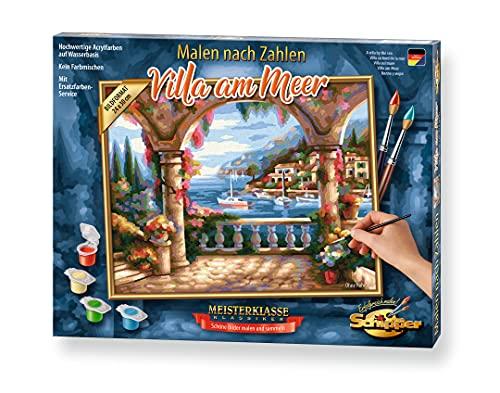 Schipper 609240800 Malen nach Zahlen, Villa am Meer - Bilder malen für Erwachsene, inklusive Pinsel und Acrylfarben, 24 x 30 cm