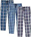 JINSHI Hombre Pantalones Largos de Pijama Algodón Casa Pantalón a Cuadros con Bragueta de Botón 3 Pack S