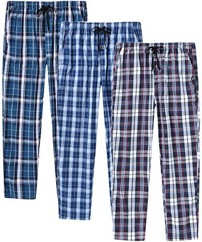 JINSHI Hombre Pantalones Largos de Pijama Algodón Casa Pant