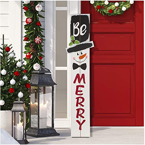 Glitzhome 42'H Wooden Welcome Sign Snowman Vertical Porch Sign - MERRY Hanging Signs Christmas Decorations for Front Door Wall Display