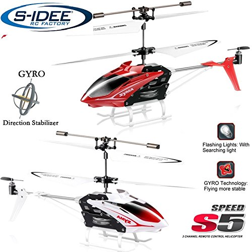 s-idee® 01164 | S5 3.5 Kanal Heli Syma Hubschrauber RC Ferngesteuerter Hubschrauber/Helikopter/Heli mit Gyroscope-Technik für INNEN und AUSSEN eingebautem GYRO! FLUGFERTIG!