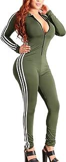 maweisong 女性の長い袖のvネックジップフロントbodyconロングパンツ?ジャンプスーツ?ロンパース