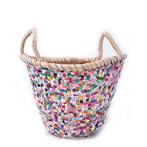 Cesta marroquí | multicolor, altura: 17 cm | cesta de hojas de palma trenzada con correas de piel