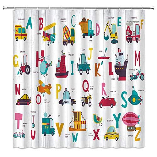 Xnichohe Duschvorhang mit englischem Alphabet, 26 Buchstaben, Bildung, Spielzeug, Autos, Kinder, Unterhaltung, Lernhilfen, Polyester-Stoff, Badezimmerdekoration, Gardinen mit 12 Haken, 178 x 178 cm