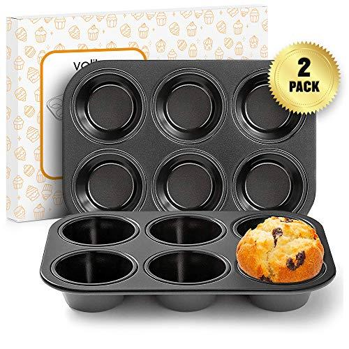 Muffin-Backbleche mit Antihaft-Oberfläche Premium beschichteter Stahl für Cupcakes und zum Backen (2er-Pack)