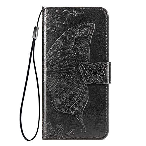 KERUN Hülle für Vivo Y70 Flip Lederhülle, 3D Schmetterling Geprägte Prägung Handyhülle, Premium Leder Brieftasche Handytasche Schutzhülle mit Kartenfach Standfunktion.Schwarz