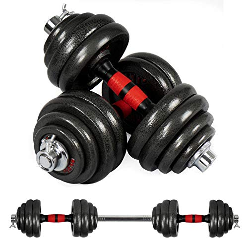 Elevens Adjustable Dumbbells Set, Free Weights Dumbbell with Connecting Rod Used as Barbell for Gym Work Out Home Training 2 Pieces/Set 66lbs