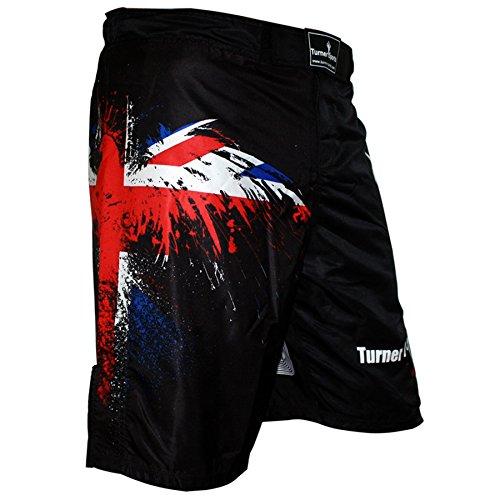 TurnerMAX Pantaloncini MMA per combattimento kickboxing allenamento grappling e UFC Cage Fight Short, Boxing Muay Thai, Nero , M