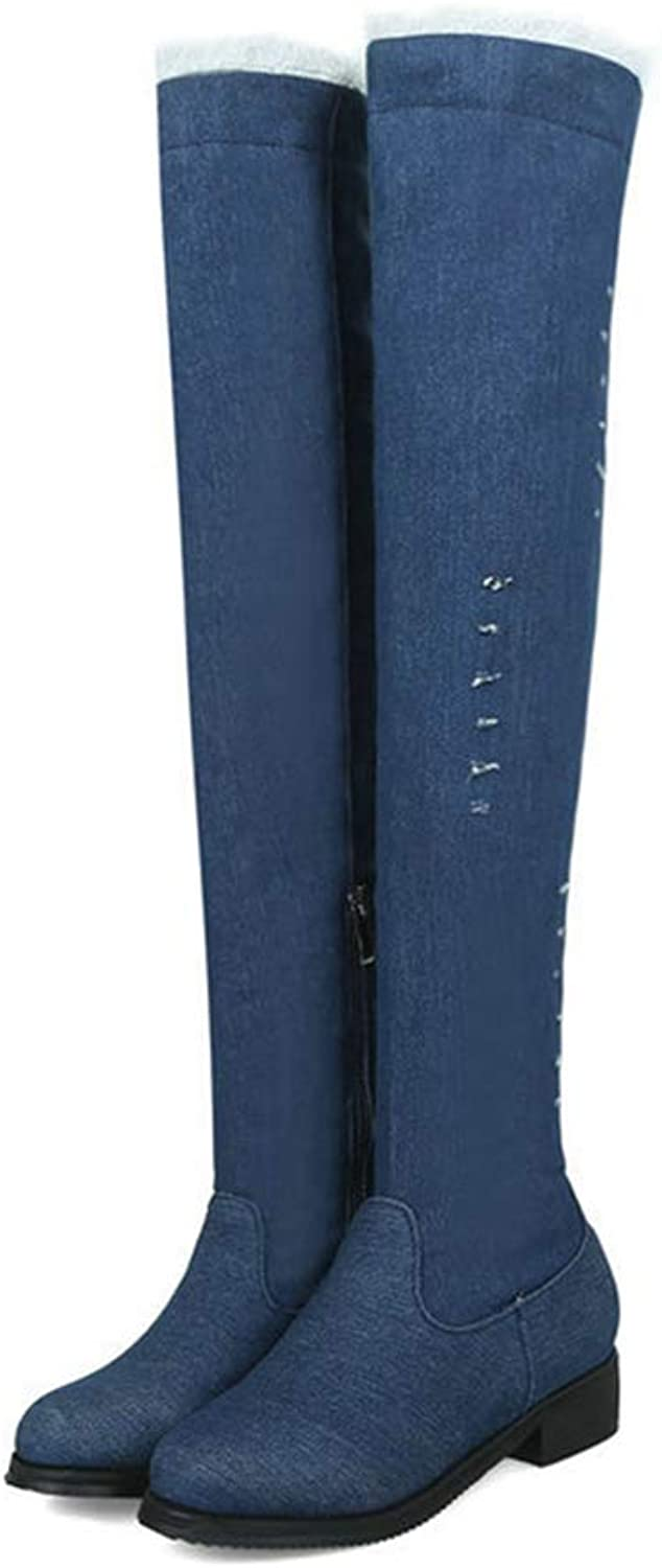 GEORPE Denim Over The Knee Boots Low Heels Casual Western Round Toe Boots