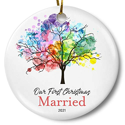 Our First Christmas Married 2021 Ornament, Newlywed Couples Keepsake Wedding Present, Rainbow Tree 3 Inch Flat Ceramic Ornament with Gift Box