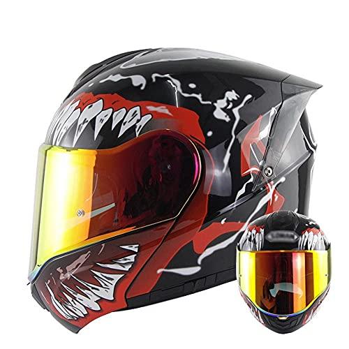 Casco Modular para Motocicleta Casco Integral Dot/ECE Homologado Cascos Moto integrales para Mujer Hombre Adultos con Doble Visera (Color : Red B, Size : M/Medium 55-56cm)