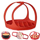 Pressure Cooker Sling,Silicone Bakeware Sling for 6 Qt/8 Qt Instant Pot, Ninja Foodi and Multi-function Cooker Anti-scalding Bakeware Lifter Steamer Rack,BPA-Free Silicone Egg Steamer Rack (Red)