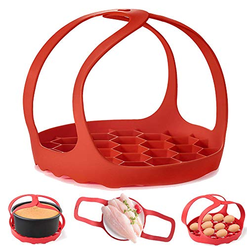 Eslinga para olla a presión, de silicona para hornear de 6 Qt/8 Qt Instant Pot, Ninja Foodi y cocina multifunción antiquemaduras, estante de vapor de silicona sin BPA (rojo)