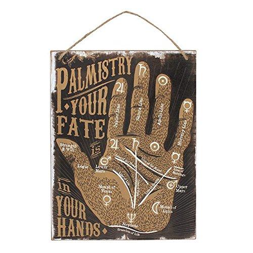 Palmistry Pancarte en bois : lignes de la main et chiromancien -