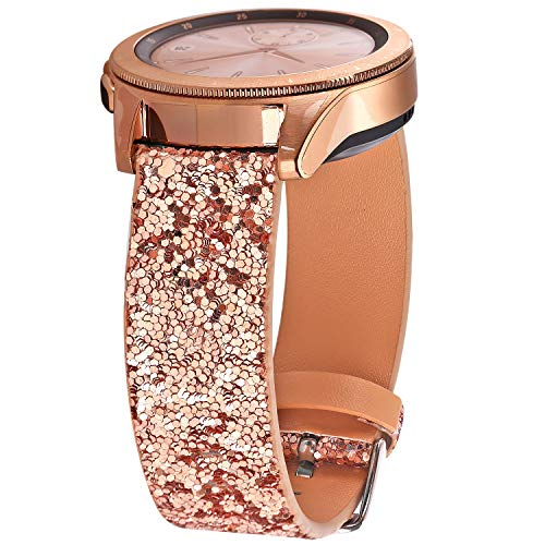 Greaciary Glitter Band Compatible with Samsung Galaxy Watch 3 41mm/Galaxy Watch 42mm,Active 40mm/Active 2 44m Sparkle Bling Leather Strap Wristband for Galaxy 20mm Smartwatch Women Girls Rose Gold