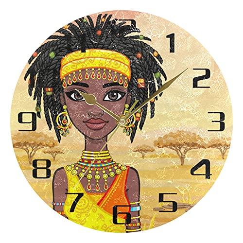 Lewiuzr Reloj de Pared Tribal Mujer Africana árbol silencioso Reloj Redondo sin tictac para el hogar Sala de Estar Cocina Oficina Escuela decoración