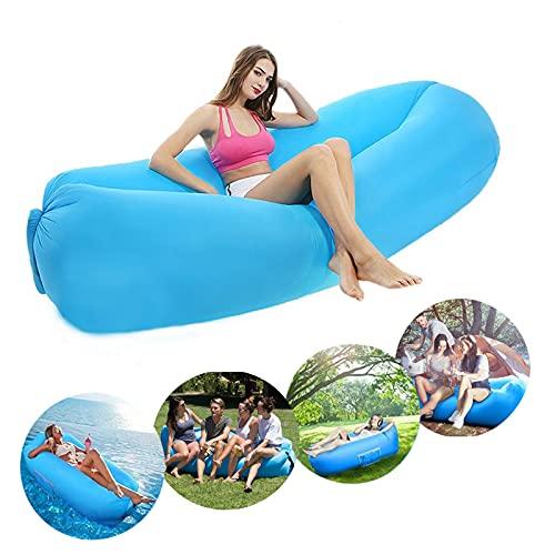 Sofá hinchable Air Lounger con 2 sacos de aire, sofá de aire con bolsa de transporte para camping, playa, exterior, patio trasero, parque (azul cielo)