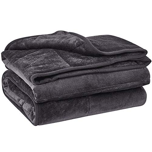 """puredown Cozy and Luxury Weighted Blanket Heavy Blanket with Glass Beads Flannel Shell Fabric Durability and Comfort 12 lbs 48"""" 72"""" Dark Grey"""