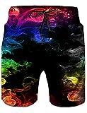 Fanient Costumi da Bagno per Uomo Costumi da Bagno Stampa 3D Felpa con Grafica Colorata Smoke Quick Dry Pantaloncini con Fodera per Vacanze estive Casual M