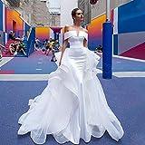 abiti da sposa semplice ed elegante con scollo a barchetta della sirena del raso abito da sposa treno staccabile della protezione sexy del manicotto d'epoca abiti da sposa abiti da cerimonia