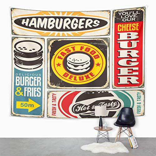 Y·JIANG Tapiz vintage, colección de signos de hamburguesa retro en el dormitorio del hogar dañado, tapiz grande decorativo de pared, manta para colgar en la sala de estar, dormitorio, 80 x 60 pulgadas
