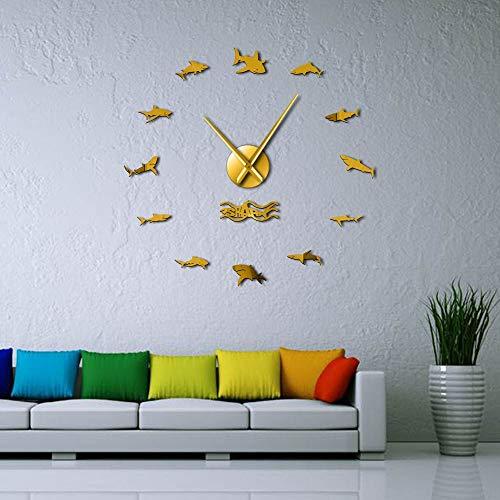 Ocean Sharks Wall Art DIY Wall Stickers Giant Wall Clock Nautical Decor Great White Shark Frameless Kid Bedroom Large Wall Clocks(Gold,27inch) Reloj de Pared de Vinilo Hecho a Mano -Nursery Wall Deco