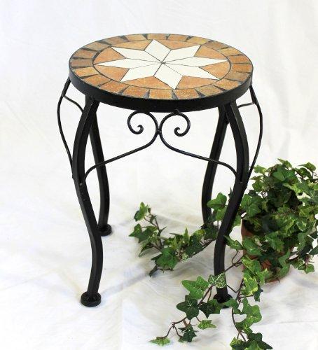 DanDiBo Blumenhocker Mosaik Rund 37 cm Blumenständer 12014 Beistelltisch Pflanzenständer Mosaiktisch Klein