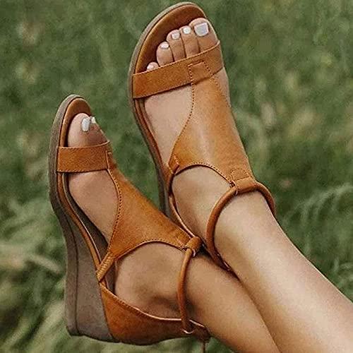 GHJUH Sandalias de Tacón de Cuña de Verano para Mujer, Sandalias Informales de Plataforma con Punta Abierta, Zapatos de Soporte de Arco, Sandalias de Playa de Piel Sintética con Cremallera Trasera