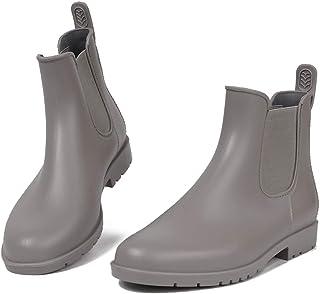 SaphiRose Women's Ankle Rain Boots Waterproof Chelsea Boots Lightweight Rain Shoes