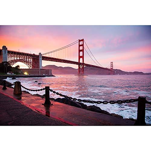 Puzzle Golden Gate Bridge Sunset Scenery Jigsaw Versión Avanzada Muy Difícil Reto Intelectual para Niños Adultos Juguete De Madera 500-6000 Piezas (Color : No partition, Size : 5000 pcs)