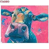 PYuKK 5D-DIY-Diamante Redondo Pintura Cristal Bordado Vaca Animal Punto de Cruz Rhinestone Mosaico Imagen artesanía decoración de la Pared sin Marco -40x50cm