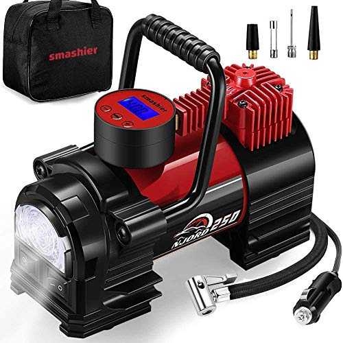 Portable Air Compressor Tire Inflator - 12V DC Heavy Duty Digital Pump with 9 LED Light for Car/Motorcycle/Air Matress, 3.7M Extended Cord Upgraded Quick Connector,Fast Inflation,Multitool Incl