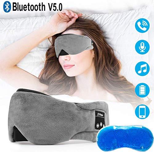 Bluetooth Schlafmaske Powcan Schlafkopfhörer Bluetooth Musik Augenmaske mit Gel-Schlafmaske für kühle/warme Therapie Hands-Free Schlafkopfhörer Nachtmaske integrierter Lautsprecher Mikrofon