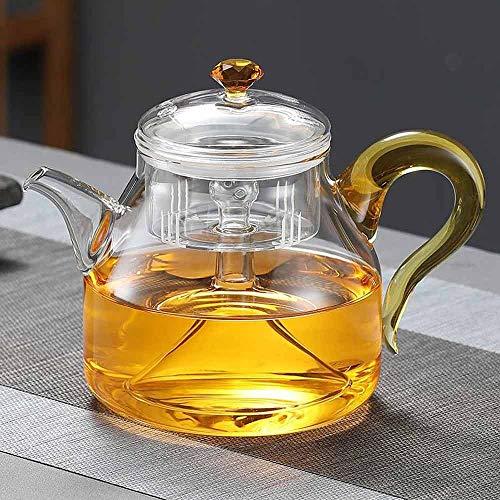 Zoo-Yilchu Tetera, Estufa Tetera de Cristal de Gran Capacidad del pote del té Hervir Té artículos de Vidrio Que cuece el pote de Cristal Tetera Gas (Color : B)