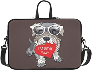 Schnauzer in A Glasses with Red Heart Valentines C Pattern Briefcase Laptop Bag Messenger Shoulder Work Bag Crossbody Handbag for Business Travelling
