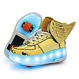 WILLQ Zapatos Patinaje sobre Ruedas LED Parte Superior Alta Zapatos Skateboarding Técnicos Retráctiles con Ruedas Dobles Zapatillas Intermitentes Exteriores Unisex, para Niños y Niñas,Amarillo,40