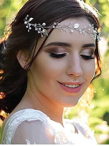 Simsly Haarschmuck für Hochzeiten mit Blättern, Brautschmuck, Abschlussball-Haarschmuck mit Kunstperlen, Kopfschmuck für Partys und Brautjungfern (Silber)