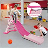 Toddler Slide, Mosunx 3 in 1 Foldable Indoor Outdoor Climber Slider Play Set w/Basketball Hoop,Easy Climb Stairs, Best Gift for Kids Boys Girls 3-6 Years Old (55 Inch Long Slide, Pink)