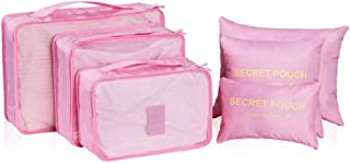 SYFO 6 Set Packing Cubes Multifunctional Travel Luggage Organizer Travel Storage Bags Value Set 6 Pcs for Clothing,Underwear Etc. (Color : Pink)